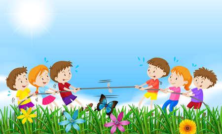 tug of war: Children playing tug o war in the field illustration