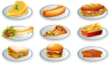 Set of fastfood on plates illustration 일러스트