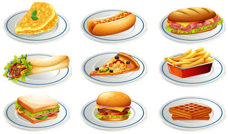 Set of fastfood on plates illustration Illustration