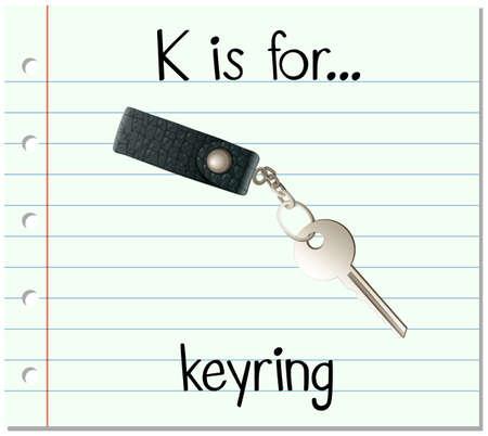 keyring: Flashcard letter K is for keyring illustration Illustration