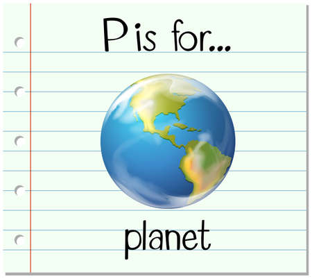 phonetics: Flashcard letter P is for planet illustration