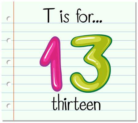 thirteen: Flashcard letter T is for thirteen illustration