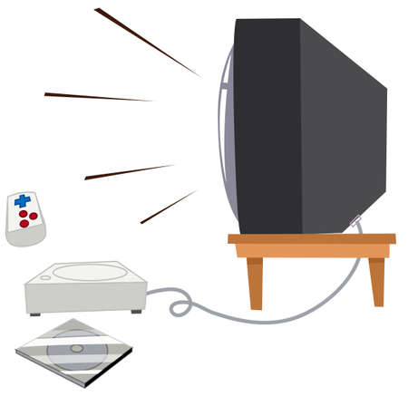 vdo: Television and vdo game set illustration Illustration