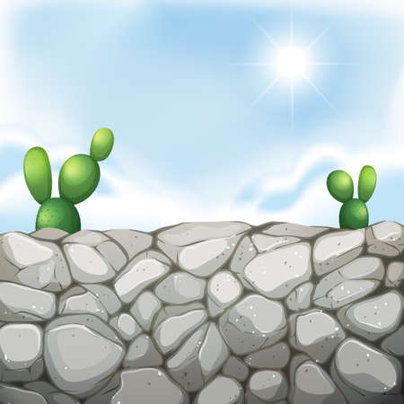 stone wall: Scene with stone wall and cactus illustration
