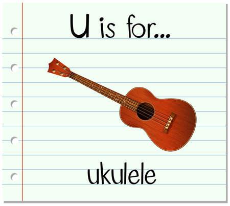 writing instruments: Flashcard letter U is for ukulele illustration