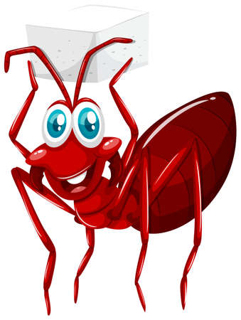 sugar cube: Red ant holding cube of sugar illustration Illustration
