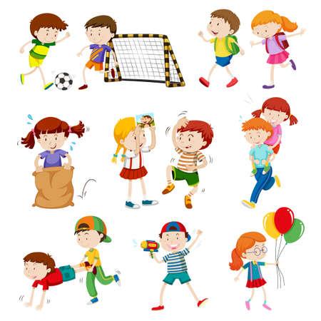 niños actuando: Niños que hacen diferentes actividades ilustración Vectores