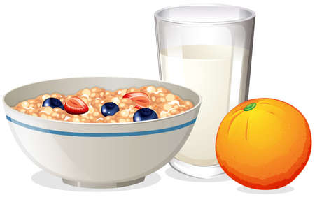 Breakfast with oatmeal and orange illustration
