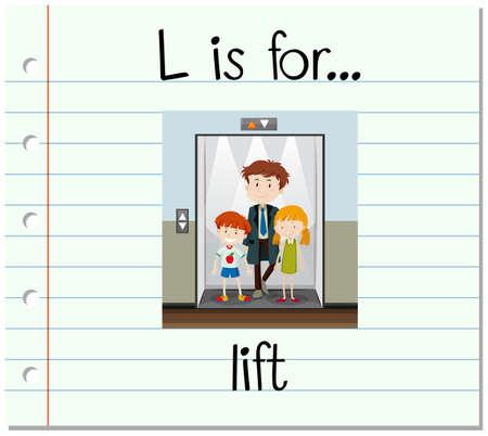l boy: Flashcard letter L is for lift illustration
