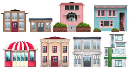 detached house: Different design of shops and houses illustration