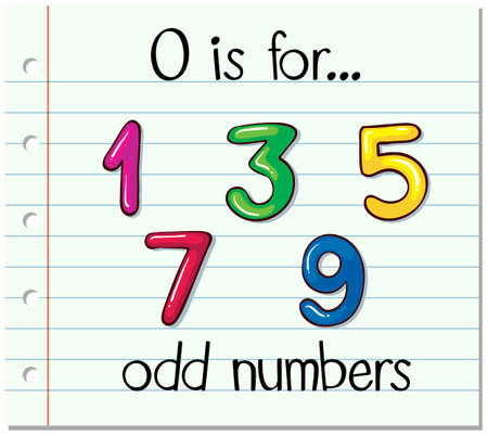 flash card: Alphabet  O is for odd numbers illustration