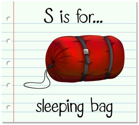 sleeping bag: Flashcard letter S is for sleeping bag illustration