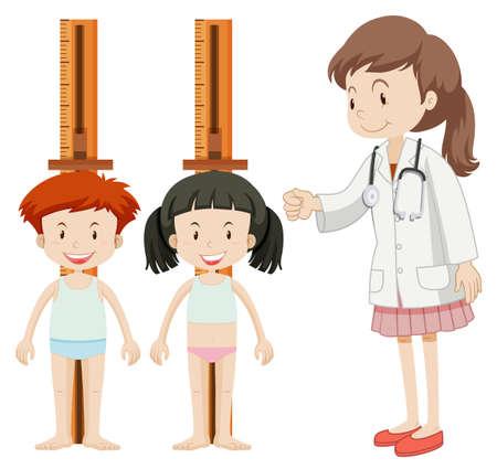 Jongen en meisje meten hoogte illustratie