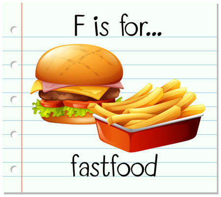 phonetics: Flashcard letter F is for fastfood illustration