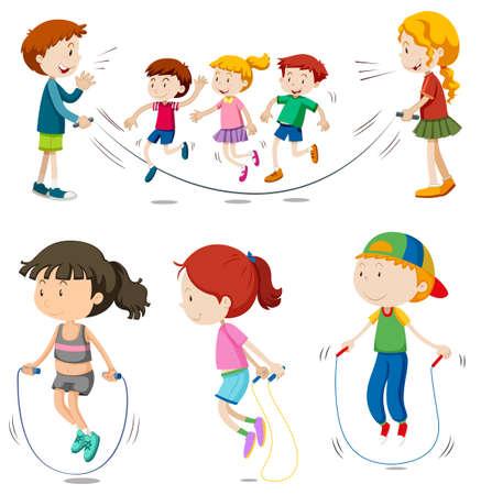 Jongens en meisjes touwtje springen illustratie Stock Illustratie