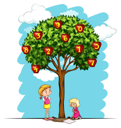 six objects: Apple tree with numbers illustration Illustration
