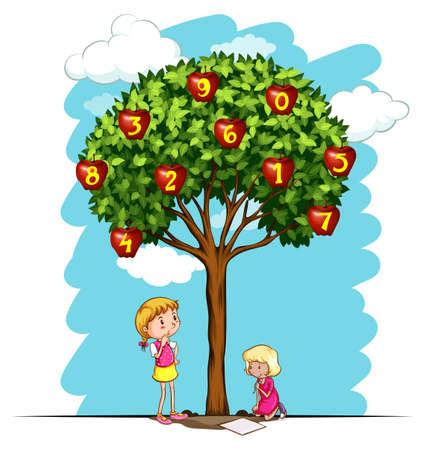 Apple tree with numbers illustration Illustration