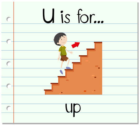 to go: Flashcard letter U is for up illustration