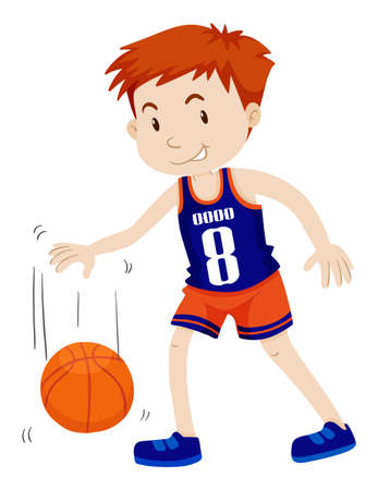 alone man: Man playing basketball alone illustration