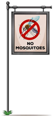 mosquitoes: No mosquitoes sign on the pole illustration Illustration