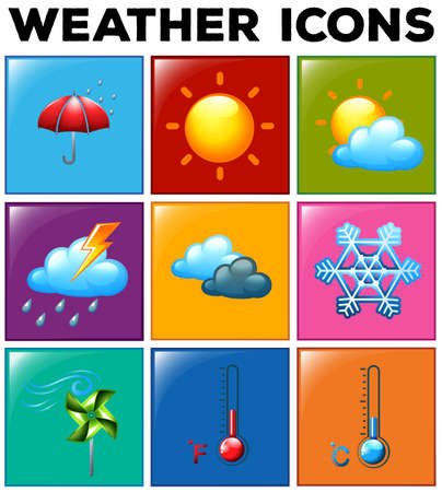 meteo: Different weather icons on color background illustration
