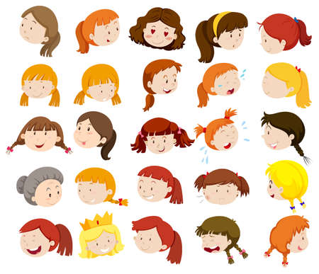 kid drawing: Different faces of women and girls illustration