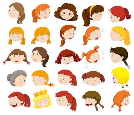 Verschillende gezichten van vrouwen en meisjes illustratie