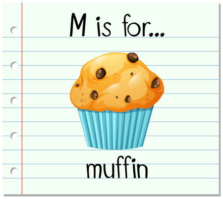 muffin: Flashcard letter M is for muffin illustration
