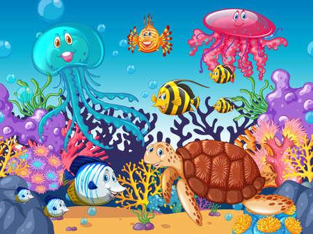 Scène avec des animaux marins sous l'océan Illustration