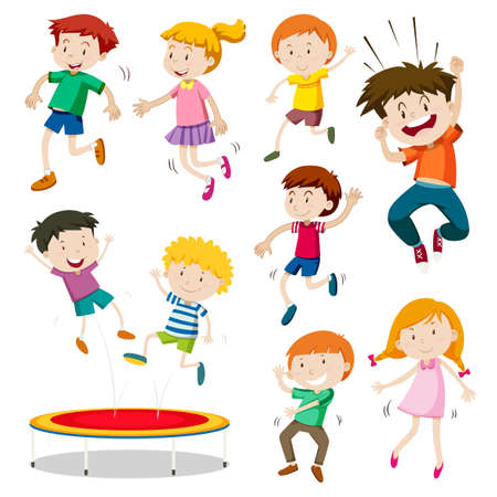 Boy and girl jumping on trampoline illustration Stok Fotoğraf - 56302898