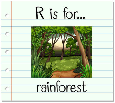 rainforest: Flashcard letter R is for rainforest illustration