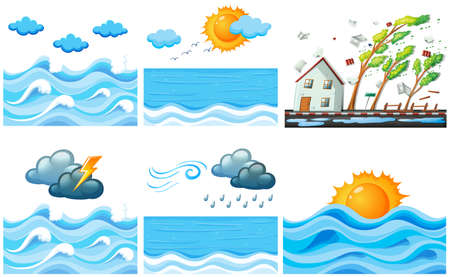 raining: Different scene with climate changes illustration Illustration