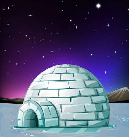 Scène met iglo 's nachts illustratie