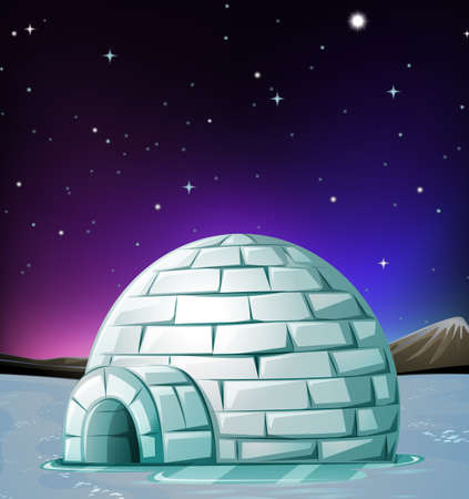 Scene with igloo at night illustration Illustration