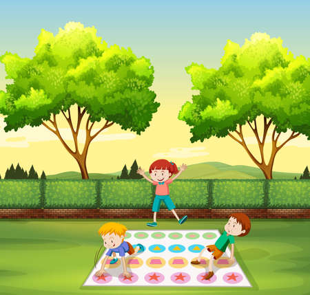 twister: Children playing twister in the park illustration Illustration