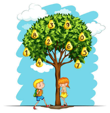 six objects: Children and pear tree with numbers illustration