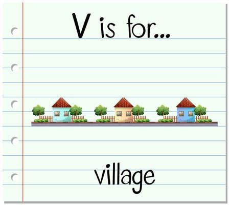 Flashcard letter V is for village illustration Illustration
