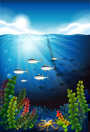 marine scene: Scene with fish swimming underwater illustration Illustration