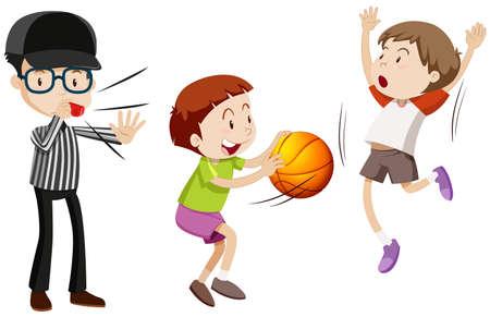 Árbitro y los niños que juegan el ejemplo de baloncesto Ilustración de vector
