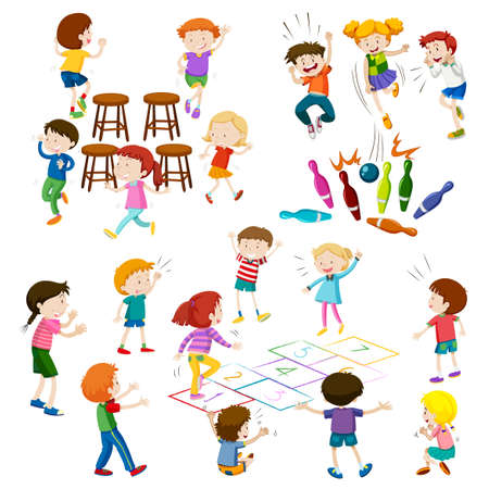 Children play different kind of games illustration Çizim