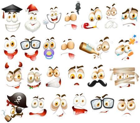 Verschillende gezichtsuitdrukkingen op witte illustratie