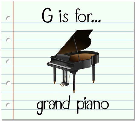 grand piano: Flashcard letter G is for grand piano illustration Illustration
