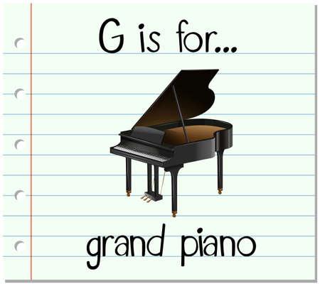 lettre de Flashcard G est pour piano illustration