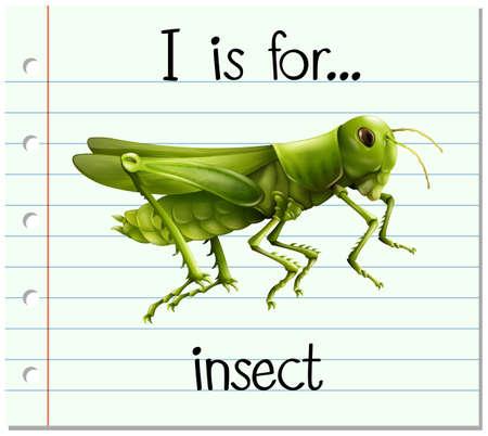 a i: Flashcard letter I is for insect illustration Illustration