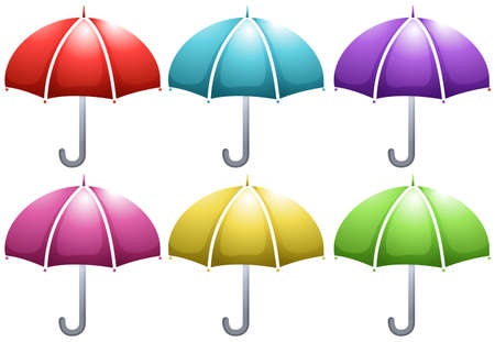 umbrella: Umbrella in six colors illustration