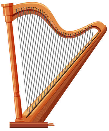Harp made of wood illustration Illustration