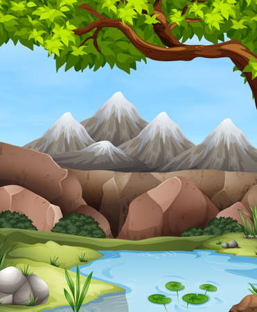 river rock: Scene with mountains and river illustration