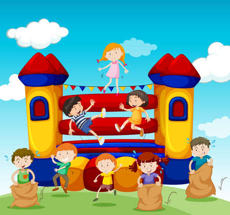 bouncing: Children playing at the bouncing house illustration