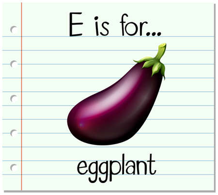 e card: Flashcard letter E is for eggplant illustration