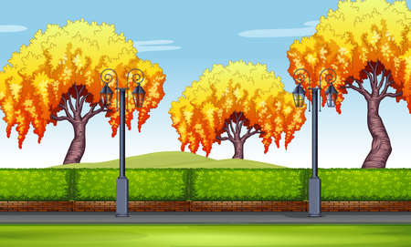 sidewalk: Scene with willow trees in the park illustration